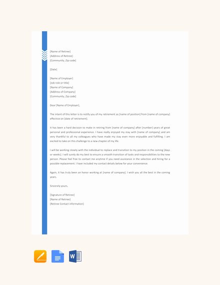 Retirement Letter to Employer Beautiful 14 Retirement Letter Examples Templates In Word Pages