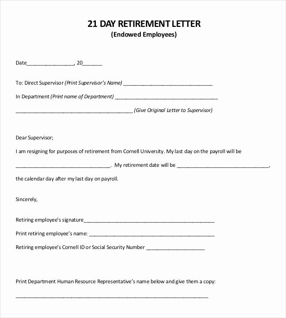 Retirement Letter to Employer Inspirational 36 Retirement Letter Templates Pdf Doc