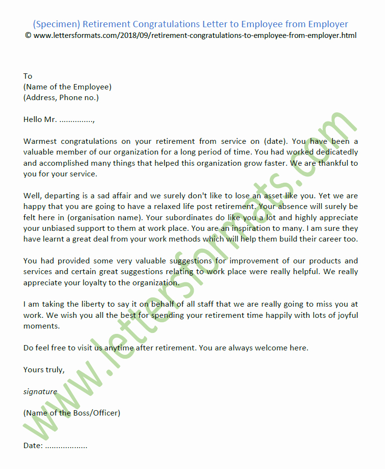 Retirement Letter to Employer Inspirational Retirement Congratulations Letter to Employee From