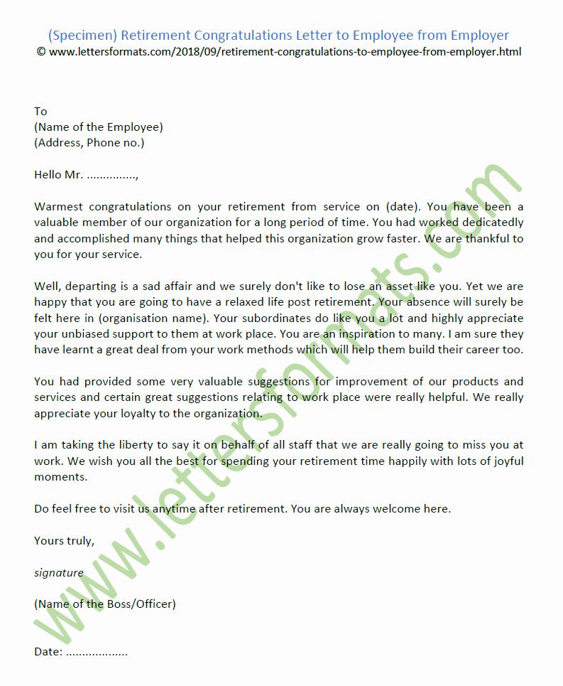 Retirement Letter to Employer Inspirational Retirement Congratulations Letter to Employee From