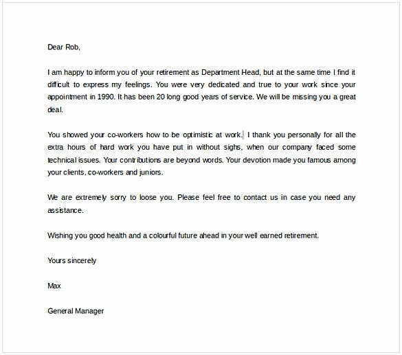 Retirement Letter to Employer Inspirational Retirement Letter to Employer