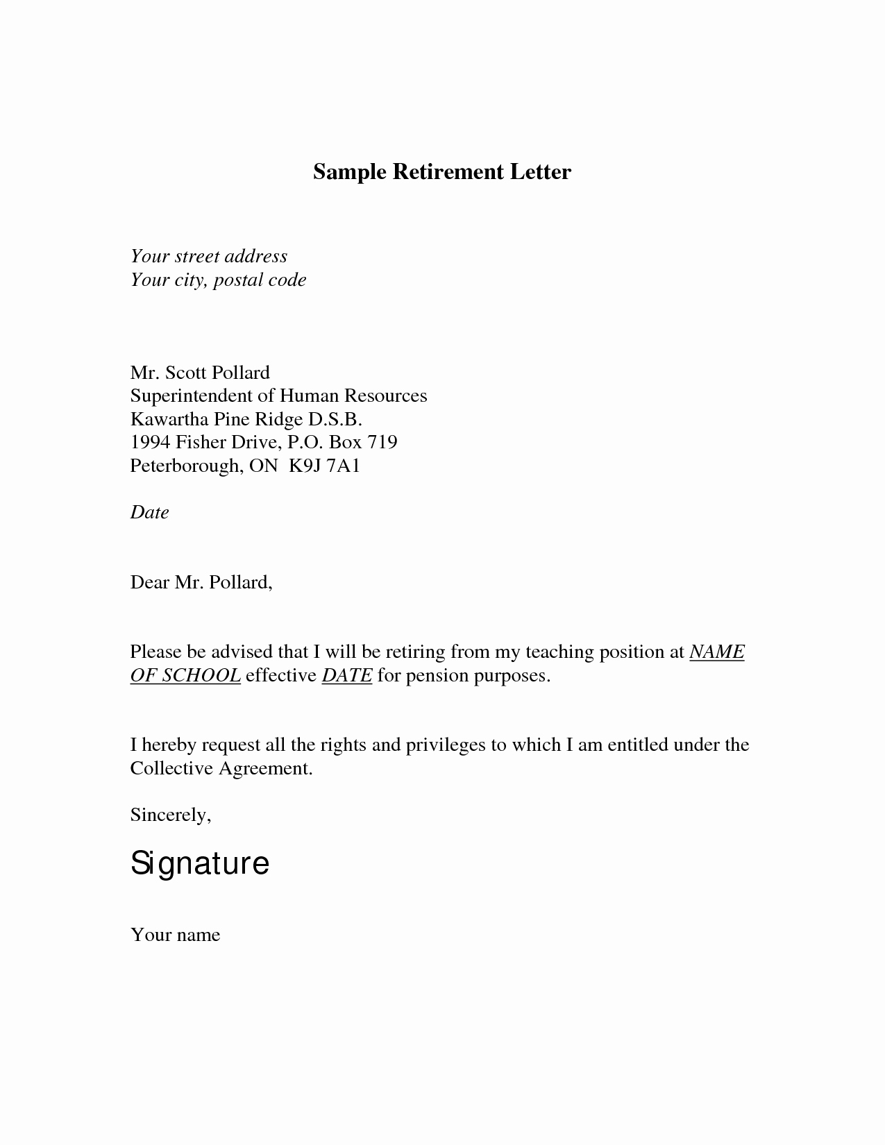 Retirement Letter to Employer New Retirement Letter Template