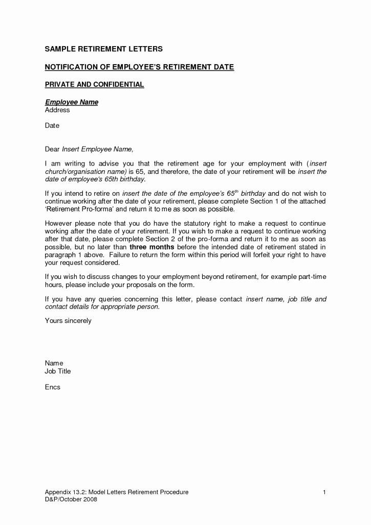 Retirement Letter to Employer Unique New Sample Retirement Letter to Employer Free