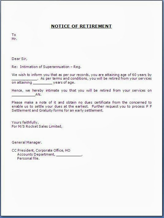 Retirement Letters to Employers Fresh Retirement Notice Letter to Employee