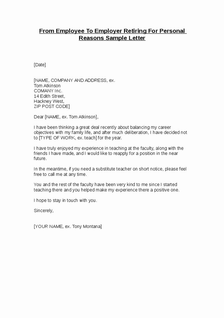 Retirement Letters to Employers Luxury Sample Letter From Employer to Employee