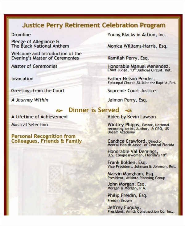 Retirement Party Program Sample Luxury 7 Retirement Program Samples & Templates In Pdf