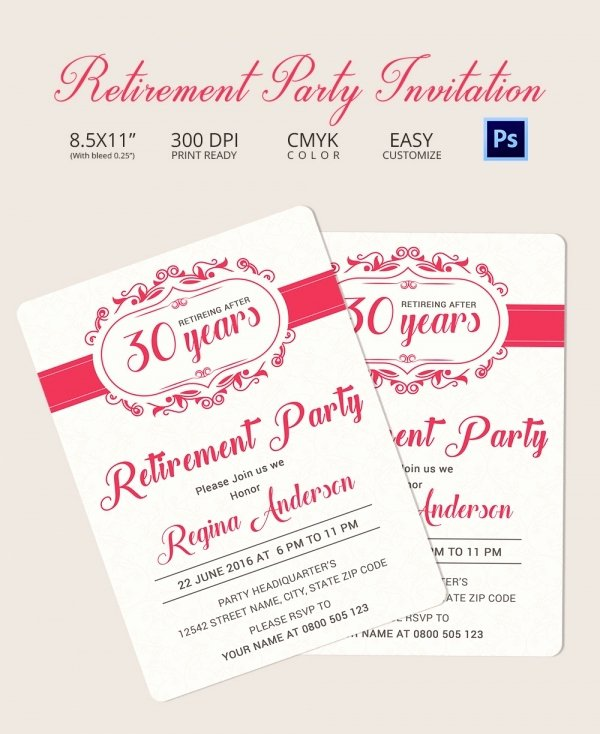 Retirement Party Program Sample Luxury Retirement Party Invitation Template 36 Free Psd format
