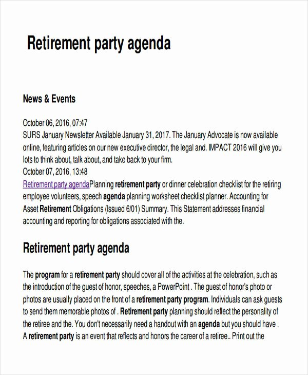 Retirement Party Program Sample Unique Free 17 Party Agenda Examples