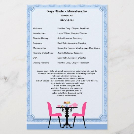 Retirement Party Program Samples Lovely Tea Party Program Template