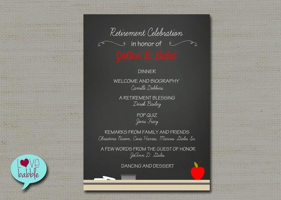 Retirement Party Program Samples Luxury Teacher School Retirement Party Program Invitation Chalkboard