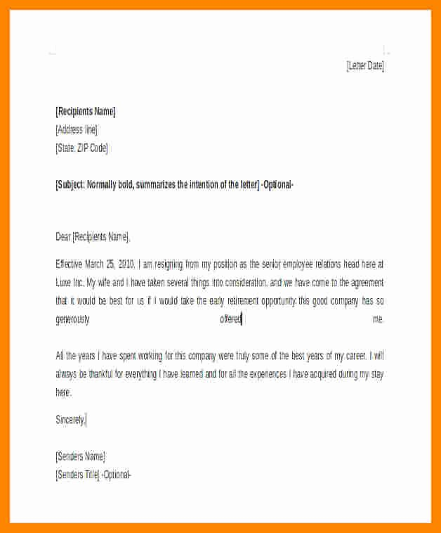 Retirement Resignation Letter Example Awesome 7 Retirement Resignation Letter Example