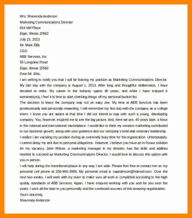 Retirement Resignation Letter Example Best Of 10 Retirement Resignation Letter to Employer