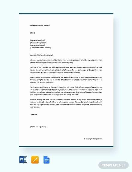 Retirement Resignation Letter Example Fresh 10 Sample Retirement Resignation Letters Pdf Word