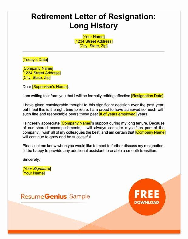 Retirement Resignation Letter Example Lovely Life Specific Resignation Letters Samples