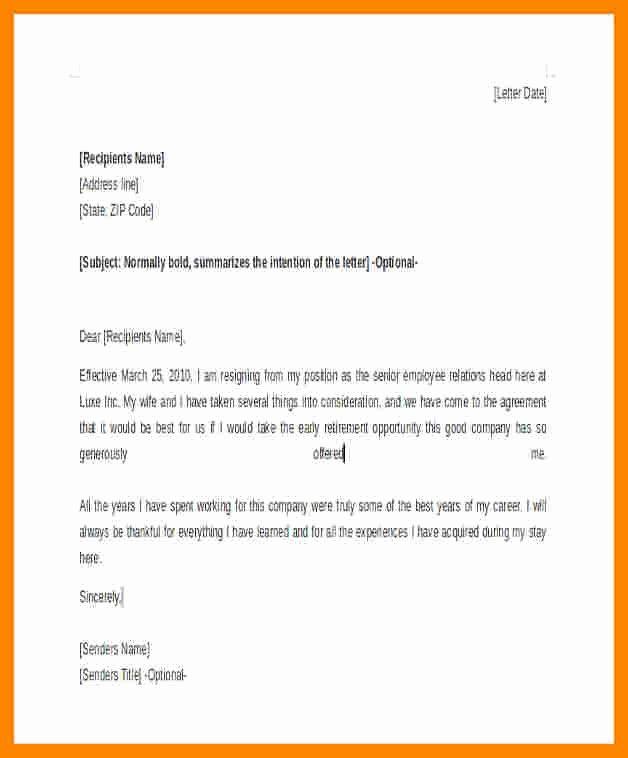 Retirement Resignation Letter Example Luxury 7 Retirement Resignation Letter Example