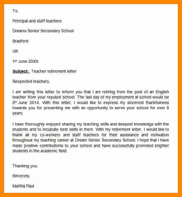 Retirement Resignation Letter Example New 11 Notice Letters Of Resignation Due to Retirement