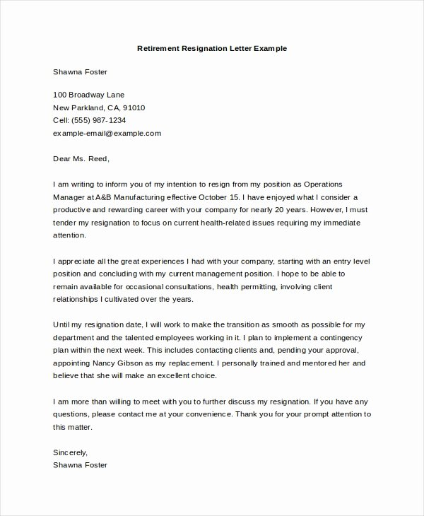 Retirement Resignation Letter Template Elegant Sample Letters Of Resignation 8 Free Documents In Doc