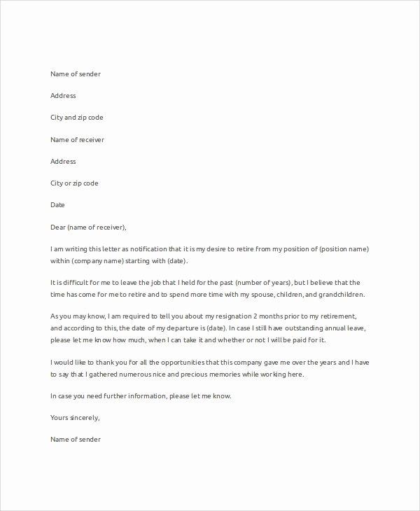 Retirement Resignation Letter Template Fresh Sample Letter Of Resignation 7 Examples In Word Pdf