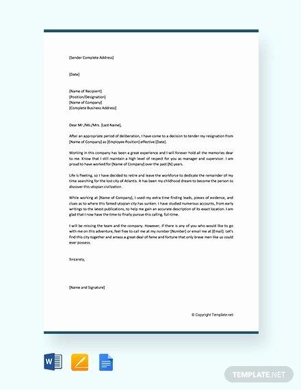 Retirement Resignation Letter Template Lovely 12 Retirement Resignation Letter Template Free Word