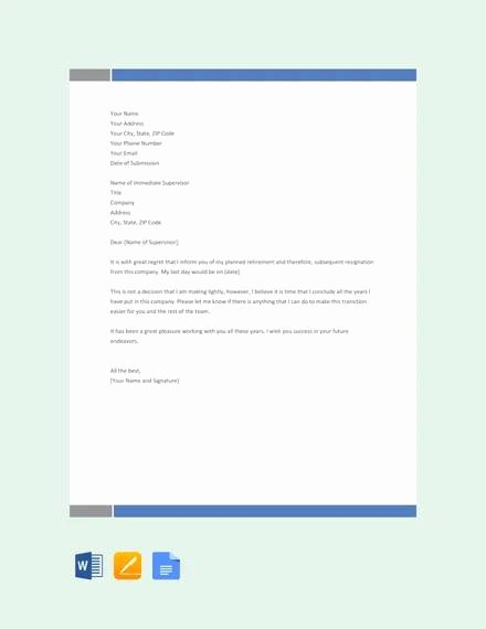Retirement Resignation Letter Template Lovely Sample Retirement Resignation Letter 9 Documents In Pdf