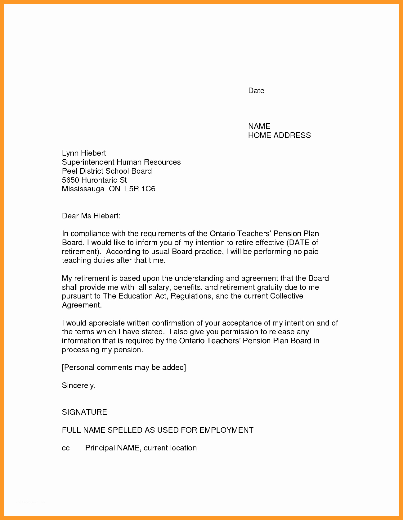 Retirement Resignation Letter Template New 12 13 Resignation Letter Sample Ontario