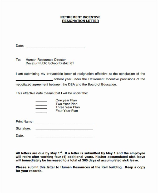Retirement Resignation Letter to Employer Awesome 12 Retirement Resignation Letter Template Free Word