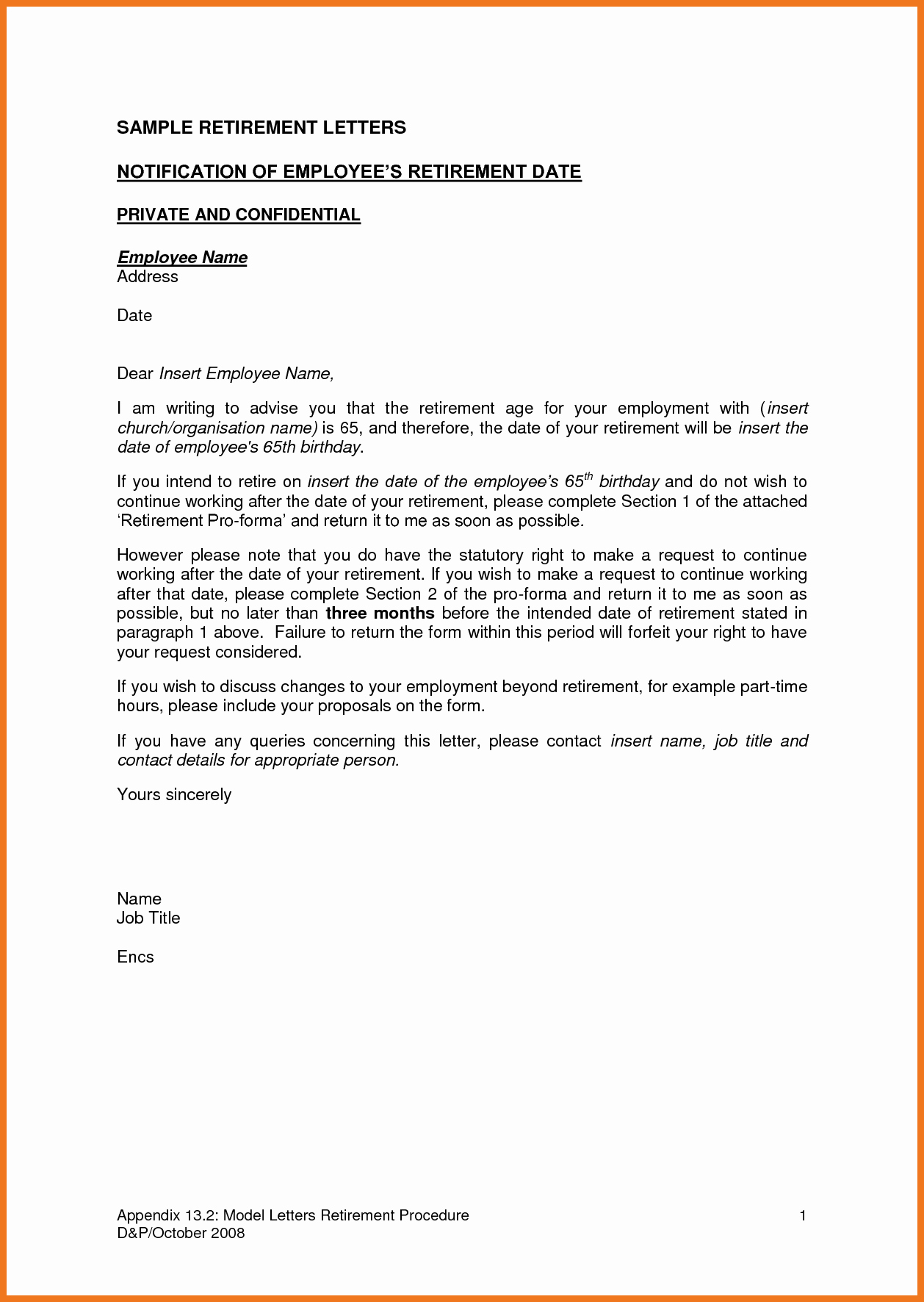 Retirement Resignation Letter to Employer Beautiful 7 8 Retirement Letter to Employee