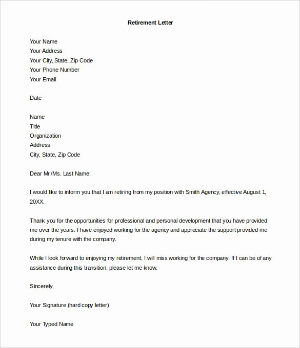 Retirement Resignation Letter to Employer Beautiful Retirement Letter Template – 10 Free Word Pdf Documents