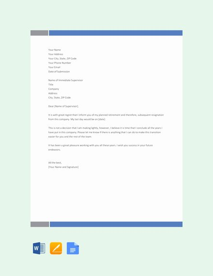 Retirement Resignation Letter to Employer Inspirational 14 Retirement Letter Examples Templates In Word Pages