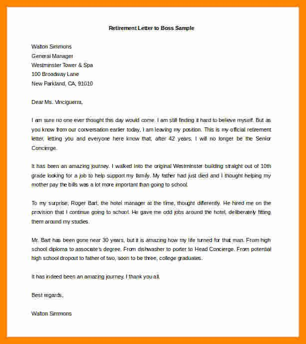 10 retirement resignation letter to employer