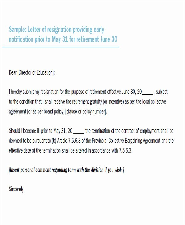 Retirement Resignation Letter to Employer New 65 Sample Resignation Letters