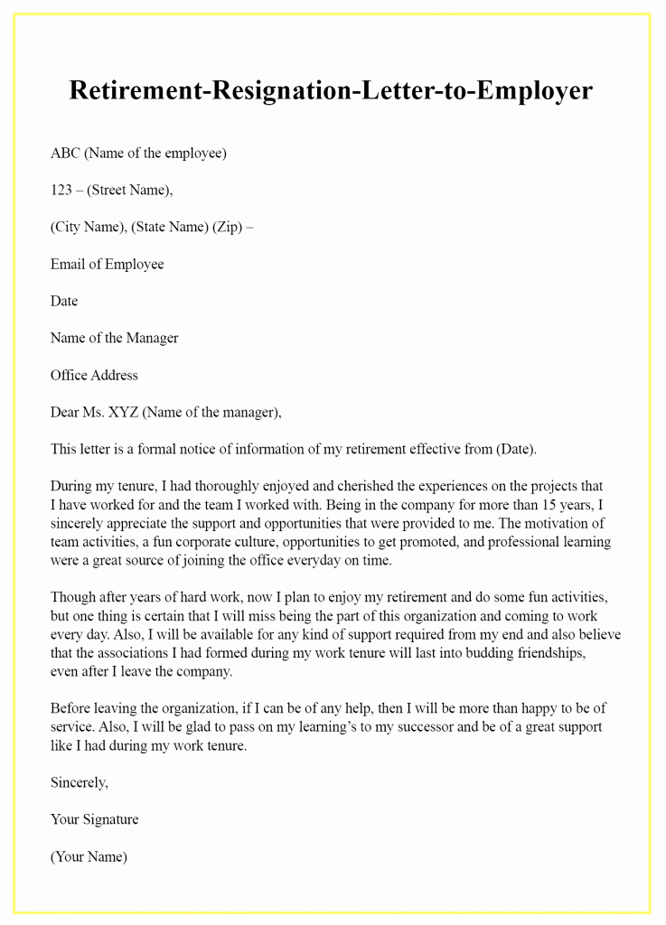 Retirement Resignation Letter to Employer New Retirement Resignation Letter to Employer – Sample & Example