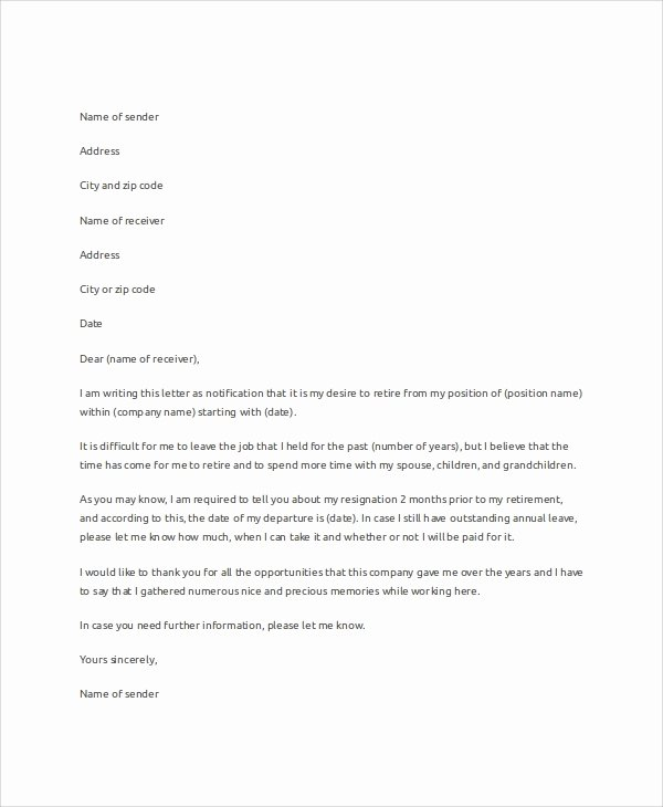 Retirement Resignation Letters Samples Inspirational Sample Letter Of Resignation 7 Examples In Word Pdf