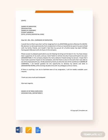 Retirement Resignation Letters Samples New 10 Sample Retirement Resignation Letters Pdf Word
