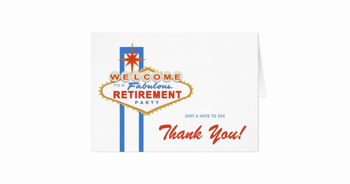 Retirement Thank You Letter Lovely Las Vegas Retirement Party Thank You Note Card