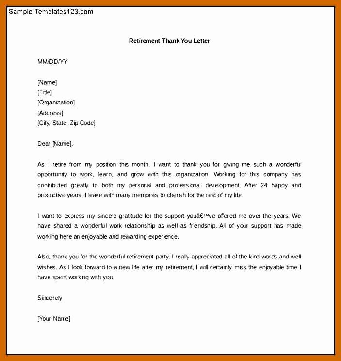 Retirement Thank You Letter Luxury 18 Retirement Letter to Boss