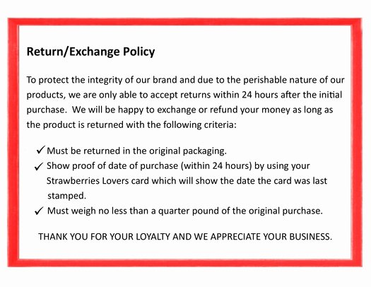 Return and Refund Policy Template Beautiful Thacker Berry Farms Return & Exchange Policy