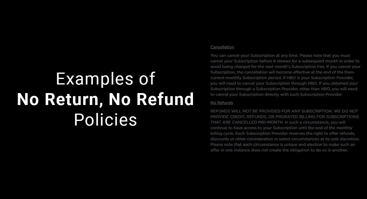 Return and Refund Policy Template Lovely Examples Of No Return No Refund Policies Termsfeed