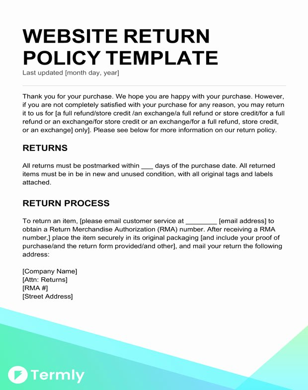 Return and Refund Policy Template Unique Return Policy Templates & Examples Free to Download