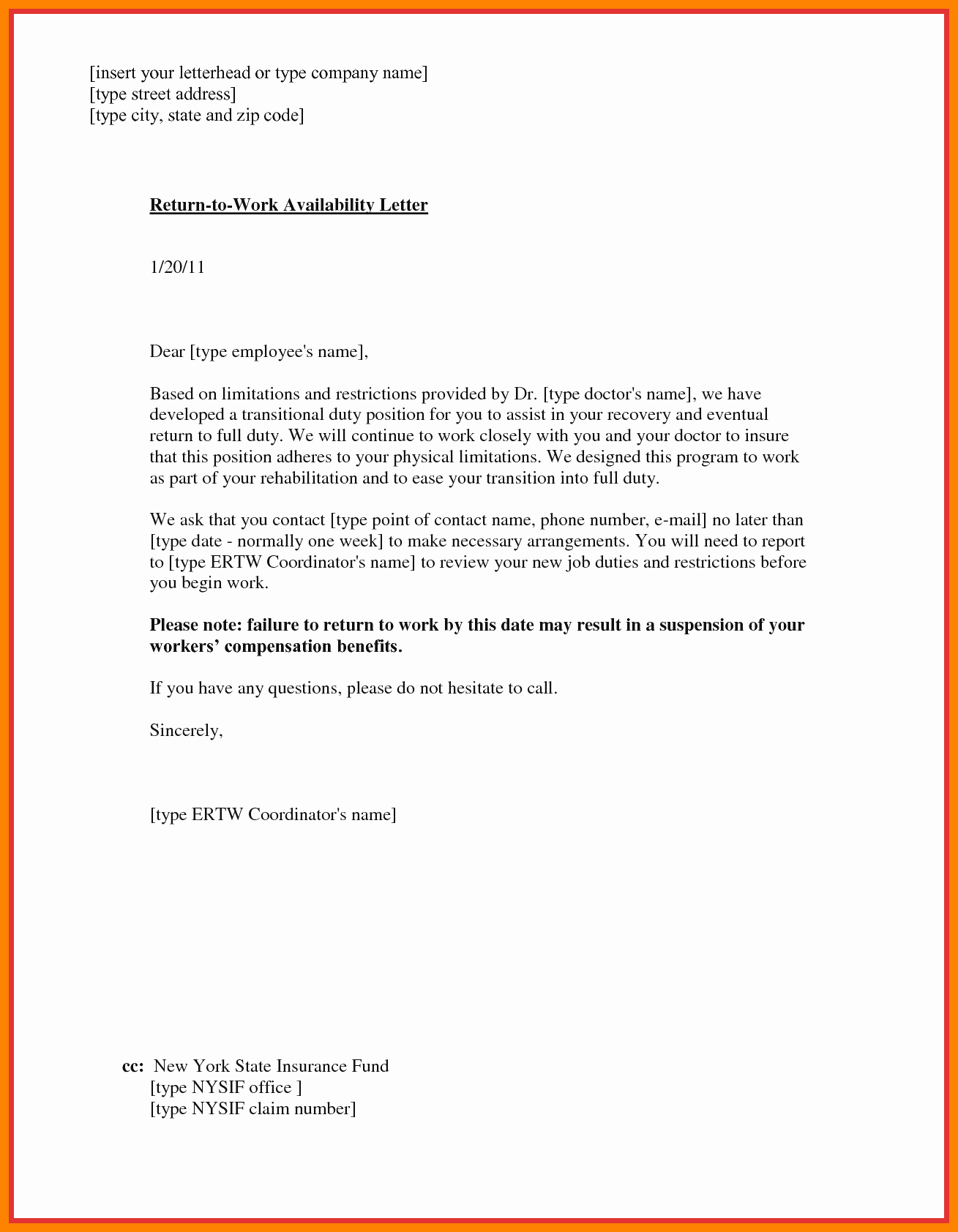 Return to Work Doctor Note Fresh 6 Sample Doctor Note to Return to Work