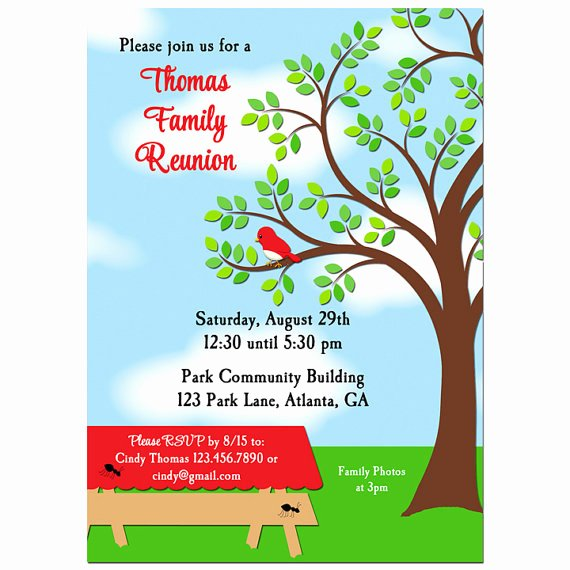 Reunion Invitation Templates Free Beautiful Family Reunion Picnic Bbq Park Invitation Printable or