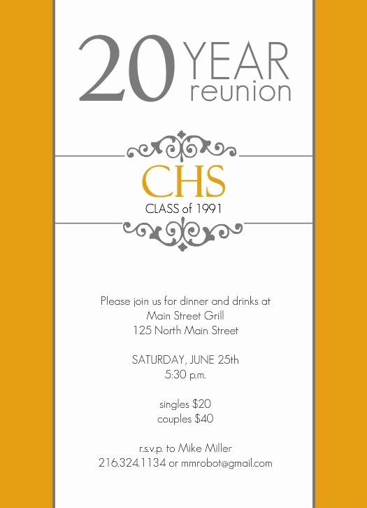 Reunion Invitation Templates Free Best Of Classic Colors 20 Year Class Reunion Invitation by