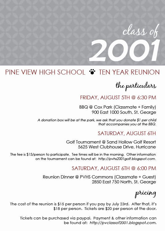 Reunion Invitation Templates Free Lovely Pine View Class Of 2001 Reunion Invite