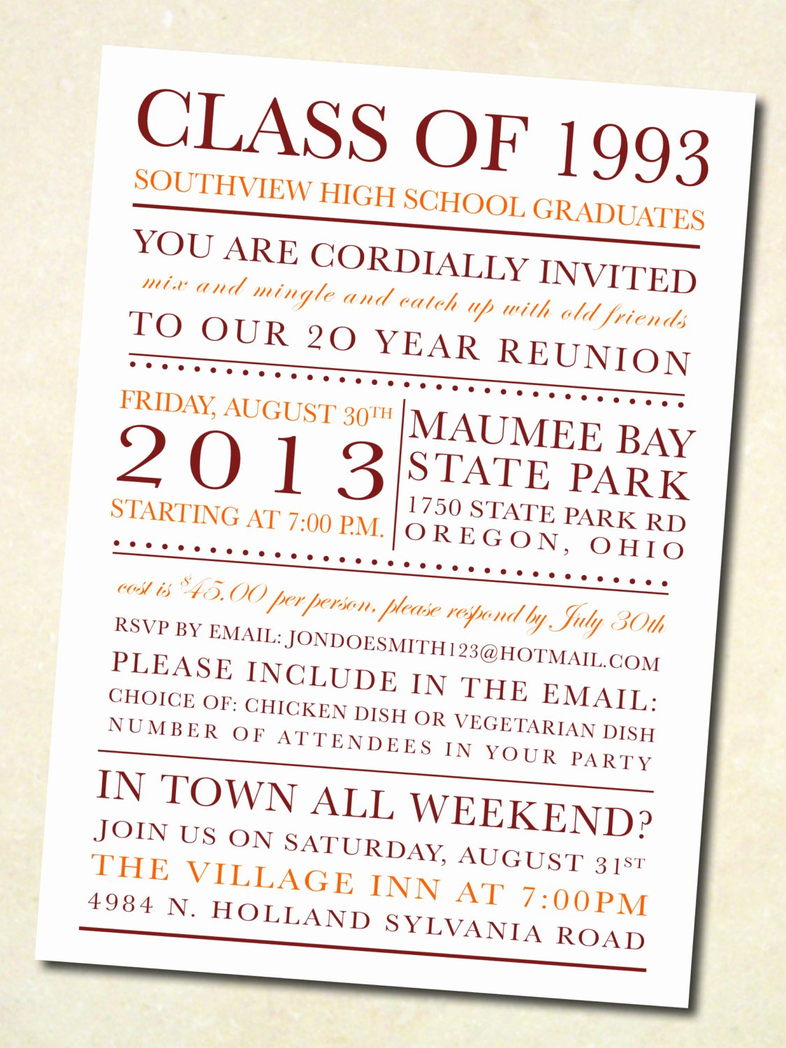 Reunion Invitation Templates Free New School Colors Class Reunion Invitation Digital by