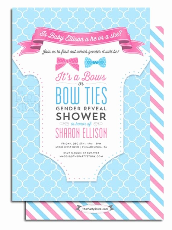 Reveal Party Invitation Ideas Best Of Gender Reveal Party Invitation Printable Bows or Bowties