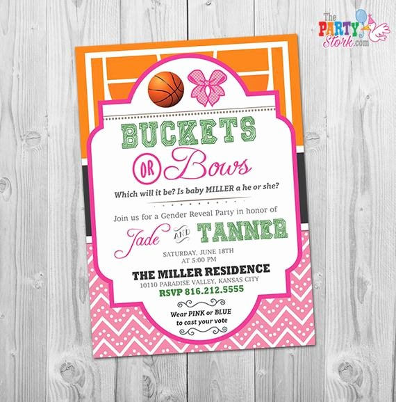 Reveal Party Invitation Ideas Fresh Gender Reveal Invitation Buckets or Bows Invitation