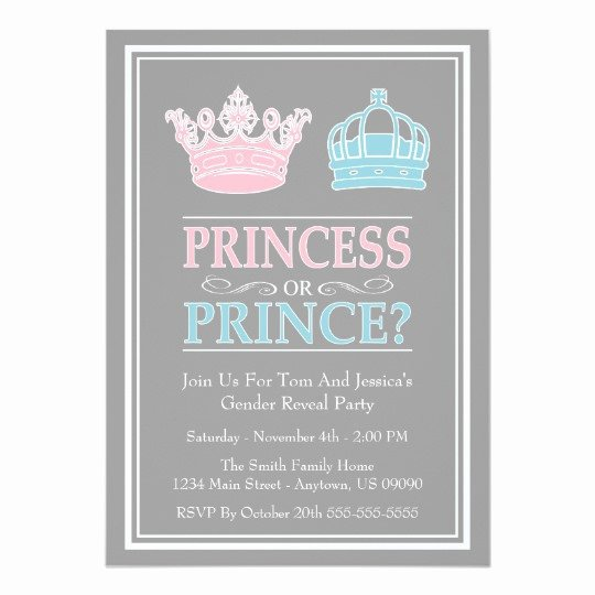 Reveal Party Invitation Ideas Lovely Princess Prince Gender Reveal Party Invitations