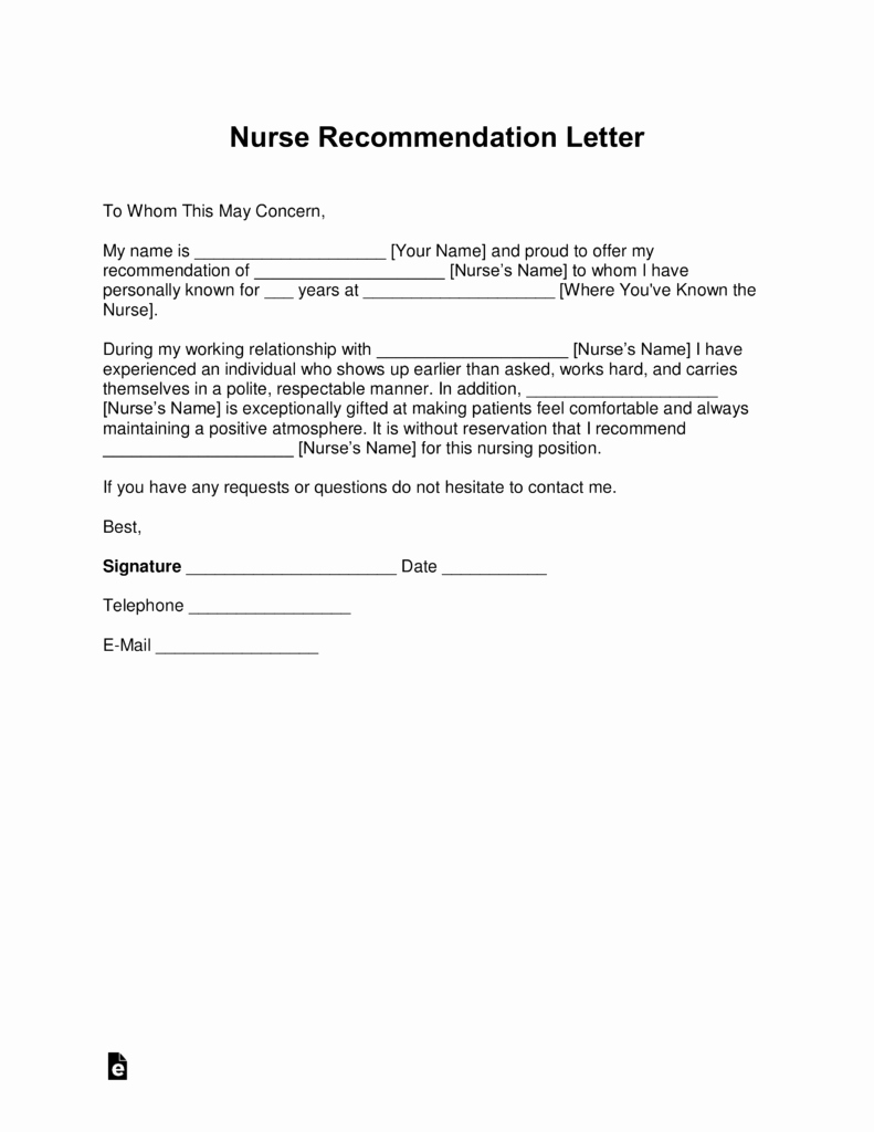 Rn Letter Of Recommendation Beautiful Free Registered Nurse Rn Letter Of Re Mendation