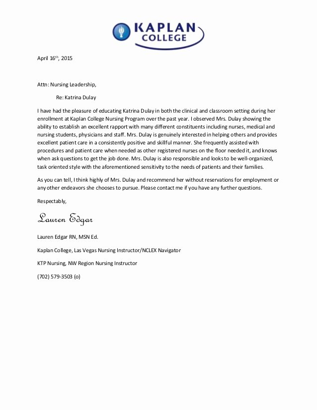 Rn Letter Of Recommendation Best Of Katrina Dulay S Letter Of Re Mendation