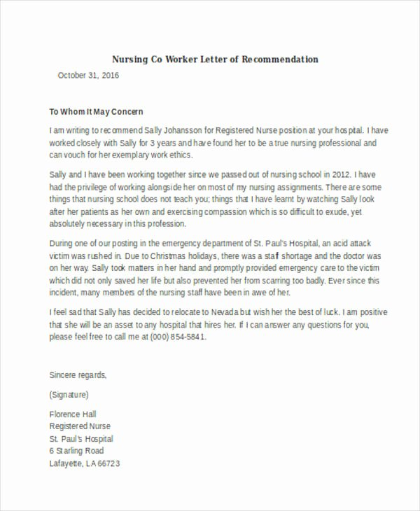 Rn Letter Of Recommendation Inspirational 5 Letter Of Re Mendation for Nursing School Template